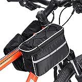 4 In 1 Multifunktions-Fahrradtasche Lenkertasche Rahmentasche Für Fahrrad Mit Reflektierenden Streifen Und Regen-Abdeckung ( Farbe : Schwarz )