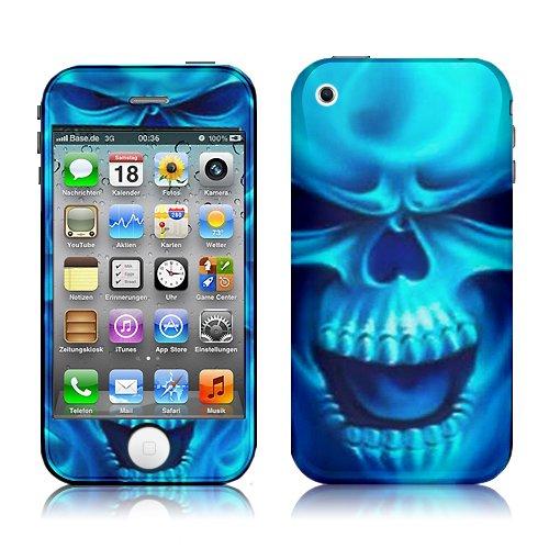 Xtra-Funky Exklusiv Blau Lodernder Schädel Entwurf Modische Hohe Qualität Protective Decal Haut bedecken Vinyl-Aufkleber für Apple iPhone 3 / 3G / 3GS (Dämon-schädel-tattoo)