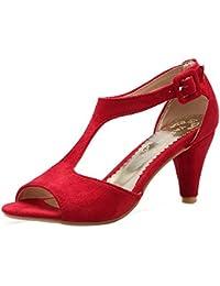 TAOFFEN Mujer Elegante Peep Toe Sandalias Tacon Embudo Tacon Medio T-strap Zapatos De Hebilla