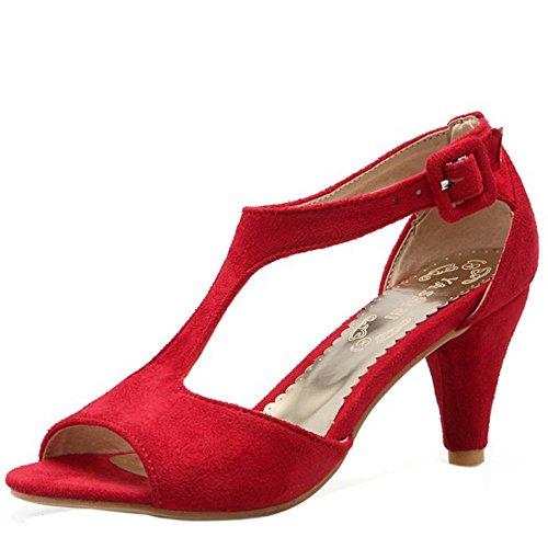 TAOFFEN Damen Fashion Peep-toe T-Strap Trichterabsatz Sandalen Rot