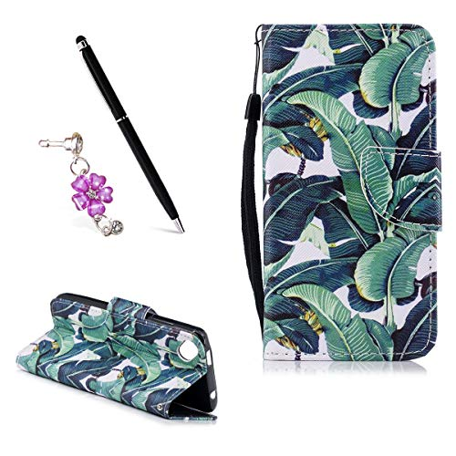 OnlyCase Wiko Sunny 2 Plus Hülle, PU Leder Flip Hülle,für Wiko Sunny 2 Plus Tasche Case Cover Schutzhülle Handyhülle - Bananenbaum