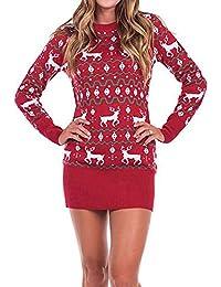 ZEZKT Damen Pullover Kleider Langarm Mode Print Lose Sweatkleid Minikleid Stricksweat Elfe Kostüm Übergroßer Minikleid Gedruckt Partei Abend