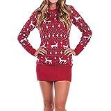 VEMOW Herbst Winter Elegant Damen Strickkleid Weihnachten Weihnachten Langarm Druck Casual Casual Party Mini Kleid(X2-Rot, 40 DE/L CN)