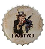 Orologio da parete 'I Want You' in metallo stile bottiglia - Bianco spento da Haysoms