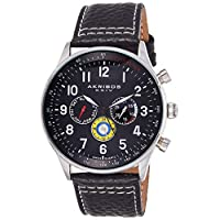 Akribos XXIV Men's Black Dial Leather Band Watch - AK751SSB