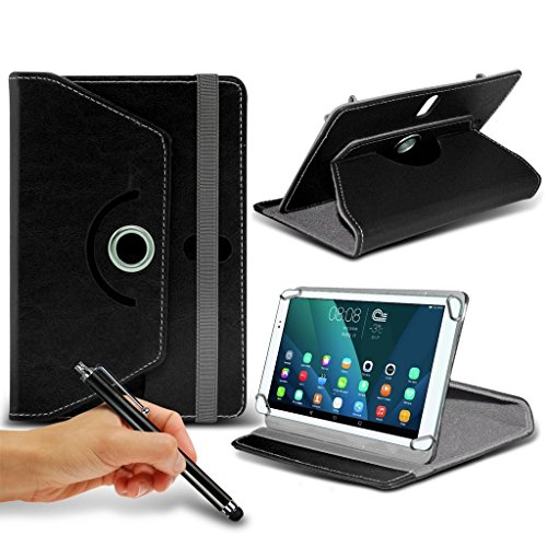 Preisvergleich Produktbild (Black) Windows Connect 9 [9 inch ] Case [Stand Cover] for Windows Connect 9 [9 inch ] Tablet PC Case Cover Tablet Durable Synthetic PU Leather 360 Roatating Case with 4 springs + TOUCH SCREEN STYLUS PEN by i- Tronixs