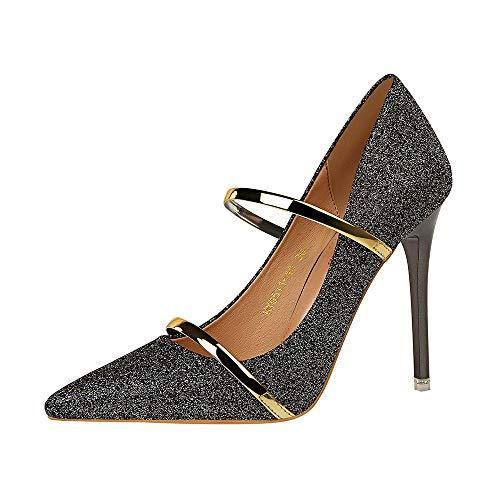 LIANGXIE Spring Fall Fashion Womens Ankle Strap HIGH Heels Ladies Slip ON Pointed Toe Pumps Stilettos SMART Wedding Sequins Heels Size,Bronze,39 - Bronze Pumps Heels