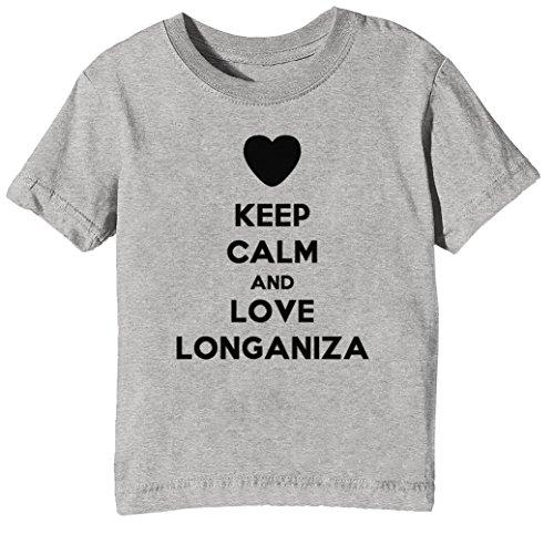 Keep Calm and Love Longaniza Kinder Unisex Jungen Mädchen T-Shirt Rundhals Grau Kurzarm Größe XS...