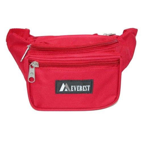 Everest Unisex Fabric Organizer Adjustable Fanny Waist Pack, Red rot