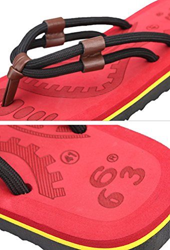 Yiiquan Herren Sommer Zehentrenner Strand Sandalen Slipper Freizeit Flip Flop Rot #3