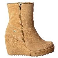 Rocket Dog Womens Ladies Boyd Fur Lined Suede Wedge Heel Platform Ankle Boots - Black, Sand, Tribal Brown