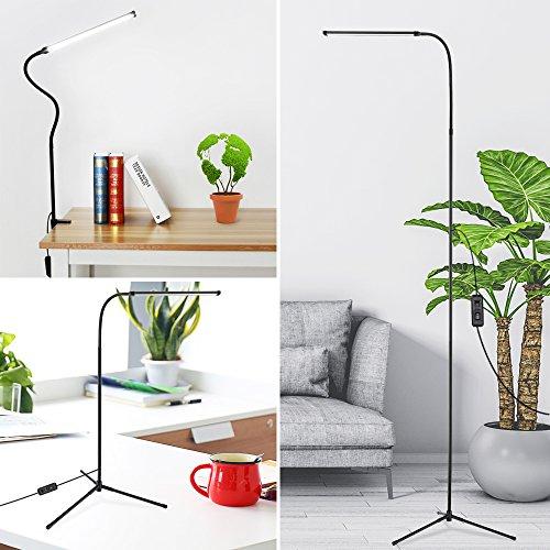 Lámpara de Pie 3 en 1, 72 LED Ojos-Protección Lampara Escritorio con 4 Tipo de Luminosidad Ajustable USB, Regala Con Base De Trípode y Soporte De Lámpara para Estudio, Salón, Dormitorio (Negro)