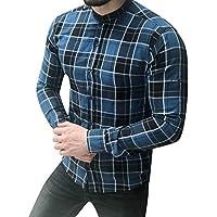 Manga Larga de celosía a Cuadros Pintura Patchwork Gran tamaño Blusa Superior Camisas