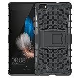 Huawei P8Lite caso, (Armor Series) Huawei P8Lite Carcasa híbrida de doble capa teléfono celular Funda, a prueba de golpes Funda para teléfono Protector carcasa con función atril, protección funda para Huawei P8Lite (5.0Inch) negro