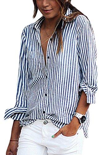 La Mujer De Manga Larga Con Cuello De Rayas Blusa Holgada Camisa Top Tee Blue S