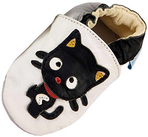 MiniFeet Prime Chaussures Bébé en cuir Souple, Chat Noir 12-18 mois
