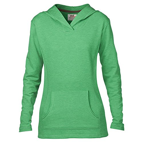 Anvil Damen Modern Kapuzenpullover Large Gr. X-Large, Grün (Heather Green) (Short Polo Sleeve Anvil Shirt)
