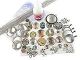 Vintageparts Schmuckzubehör Cabochonset Vintage für Einsteiger in silberfarben mit über 80 Teilen: Cabochons, Rahmen, Kleber, Ketten und Motiven zum DIY Halsketten und Armbänder Schmuck basteln