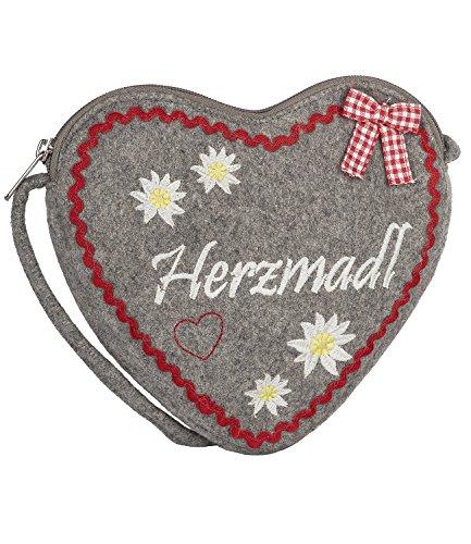 SIX - Damen Handtasche, Umhängetasche, Trachtenaccessoire, Riemen abnehmbar, grau, rot, weiß (427-882) (Neue Schwarze Inspiriert Designer Handtasche)