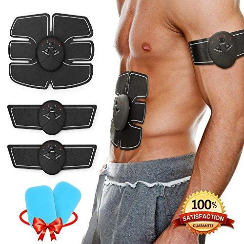 Muscoli addominali , Koooper Elettrostimolatore EMS Stimolatore Muscolare Per Addome , Offerta 2 gels - Cintura di massaggio pancia / coscia / braccio - Regalo per dimagrire, Uomo Donna