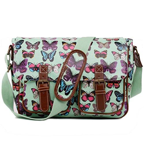 Miss Lulu , Damen Umhängetasche Einheitsgröße Butterfly Bag Green