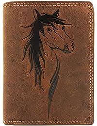 a1c9b2dc3a4af echt Leder Damen Geldbörse Jockey Club Pferd naturbelassenes Büffelleder  Cognac braun