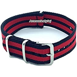 AccessoriesBySej ® TM - G10 NATO MOD NYLON WATCH STRAP - 35 Different Styles & Sizes - (18MM BLACK/RED 5S) - Presented with a FREE Luxurious AccessoriesBySej ® TM Velvet Gift Pouch/Bag