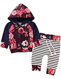 64d89856bed4 puseky Newborn Baby Girl Long Sleeve Floral Hoodie Sweatshirt Tops+Striped  Pant Clothes