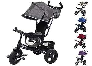 Clamaro 'Buttler GT' 4in1 Kinderwagen Dreirad ab 1 Jahr mit lenkbarer Schubstange, flüsterleise Gummireifen und Sonnendach, durch 4-fach Umbau für ab ca. 1-5 Jahre geeignet, Matt Schwarz/Grau Leinen