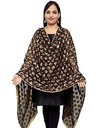 S.K. Ethnic India Women's Chiffon Hand Embroidered Dupatta (Black_Free Size)
