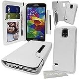 Stylebitz / étui portefeuille en cuir PU avec coque rigide détachable et magnétique pour Samsung Galaxy S5 / SV / i9600 + tissu de nettoyage (blanc)