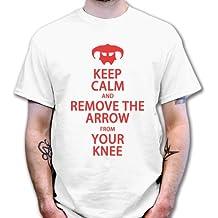 Abt Hombres de mantener la calma y eliminar la flecha de tu rodilla camiseta