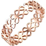 Women's 316L Stainless Steel 5mm Lucky Four Leaves Clover Wedding Band Ring, Rose Gold