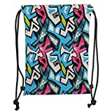 ZKHTO Drawstring Sack Backpacks Bags,Grunge,Street Art Theme with Colorful Graffiti Funky Display Underground Urban Culture,Multicolor Soft Satin,5 Liter Capacity,Adjustable String Closure,Th