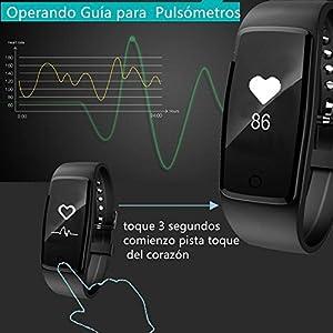 Willful Impermeable Pulsera Inteligente Pulsera Actividad con Pulsometros,Monitor de Dormir,Monitor de Calorías,Podómetro,Monitor de Ritmo Cardiáco,Notificación de mensaje,Monitor Cardio,Pulsera Deporte para Android y IOS Teléfono móvil (negro)
