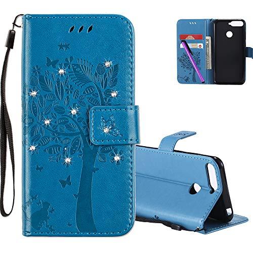 COTDINFOR Huawei Y6 2018 Hülle für Mädchen Elegant Retro Premium PU Lederhülle Handy Tasche mit Magnet Standfunktion Schutz Etui für Huawei Y6 2018 / Honor 7A Blue Wishing Tree with Diamond KT.