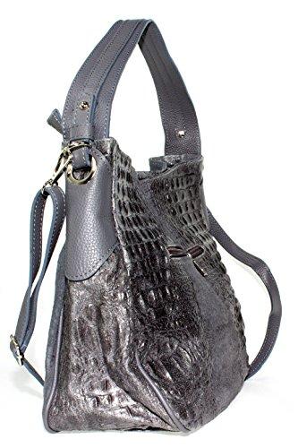 Echt Leder Wildleder Damentasche Kroko Optik Shopper Schultertasche Umhängetasche (grau) grau