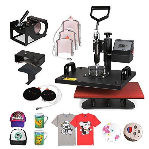 ZauberLu 8 IN 1 Multifunktions Hitzepresse Upgraded 38X30 CM Heißpresse mit Elektronische Zeitregelung und Temperaturüberwachung Automatisch Transferpresse Textilpresse für Platten Becher Schalen Hut T-Shirt (38X30 CM)