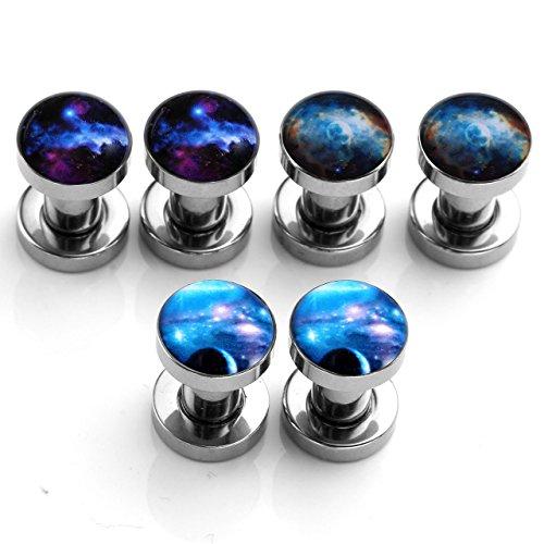 JSDDE 6pcs Mixtes Kit Lot Vrac Acier Inoxydable Ecarteur Plug Tunnel Univers Planete Galaxie Barbell Halthere Expandeur Punk Rock 4mm 5mm 6mm 8mm 10mm 12mm 14mm 16mm Taille=4mm