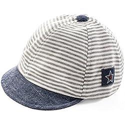 Sombrero de béisbol para el sol. Para bebé recién nacido, diseño de rayas. Gorra visera borde ancho anti-UV protección solar sombrero de playa piscina pesca viaje para niños chicos chicas 2–12meses gris gris Unique