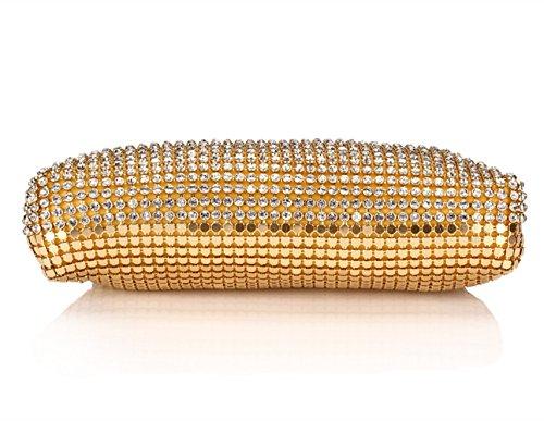 Sallyshiny-Borsa, strass e paillettes Evening Clutch Bag sera-Sacchetti per feste di matrimonio (oro)
