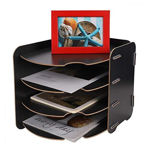 Organizer da scrivania, formato A4, vassoio portadocumenti impilabile, in legno, per documenti, per ufficio, scuola e casa 12x10x10.5inch(31x26x27cm) Nero