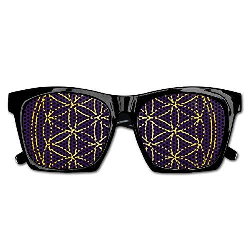 EELKKO Mesh Sunglasses Sports Polarized, Geometric Curved Rounds Shape Overlapping Circles Artsy Sacred Image,Fun Props Party Favors Gift Unisex