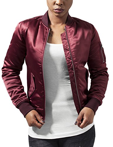Urban Classics Damen Jacke Ladies Satin Bomber Jacket, Rot (Burgundy 606), 42 (Herstellergröße: XL)