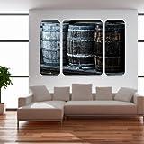 malango® Vintage Whiskyfässer Triptychon Wandtattoo Tattoo Dekoration Styling Design Aufkleber Fass Whiskey 40 x 61 cm digitalgedruckt digitalgedruckt 40 x 61 cm