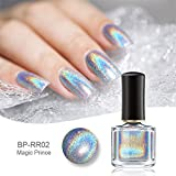 Born Pretty 6ml Vernis Holographique avec Holo Paillette Brillante Manucures Nail Art H002 - Arc-en-ciel Magique