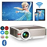 Proyector HD Smart Android 6.0 WiFi Proyectores LED, 5000 Lumens Bluetooth 4.0, Soporte 1080P, HDMI, USB, VGA, Inal¨¢mbrico 5.8in TFT Proyector de Video Exterior Cine en casa Gaming TV Artwork