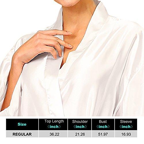 Dolamen Unisex Damen Herren Morgenmantel Kimono, Satin Nachtwäsche Bademantel Robe Kimono Negligee Seidenrobe locker Schlafanzug, Büste 132cm, 51,97 Zoll, große Größe für alle Weiß