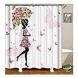 Beydodo Anti-Schimmel Duschvorhang 180X180 Blume Mädchen Schmetterling 3D Vintage Duschvorhang