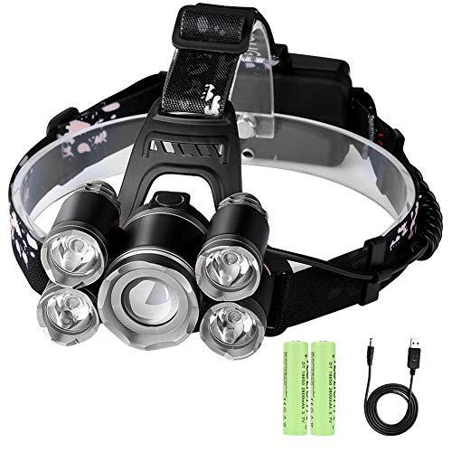 Linterna Frontal LED Recargable Linterna de Cabeza Laluztop 4 Tipos de Luz Alta Potencia 8000 Lúmenes Rango de Lluminación Hasta 500 Metros - Gris